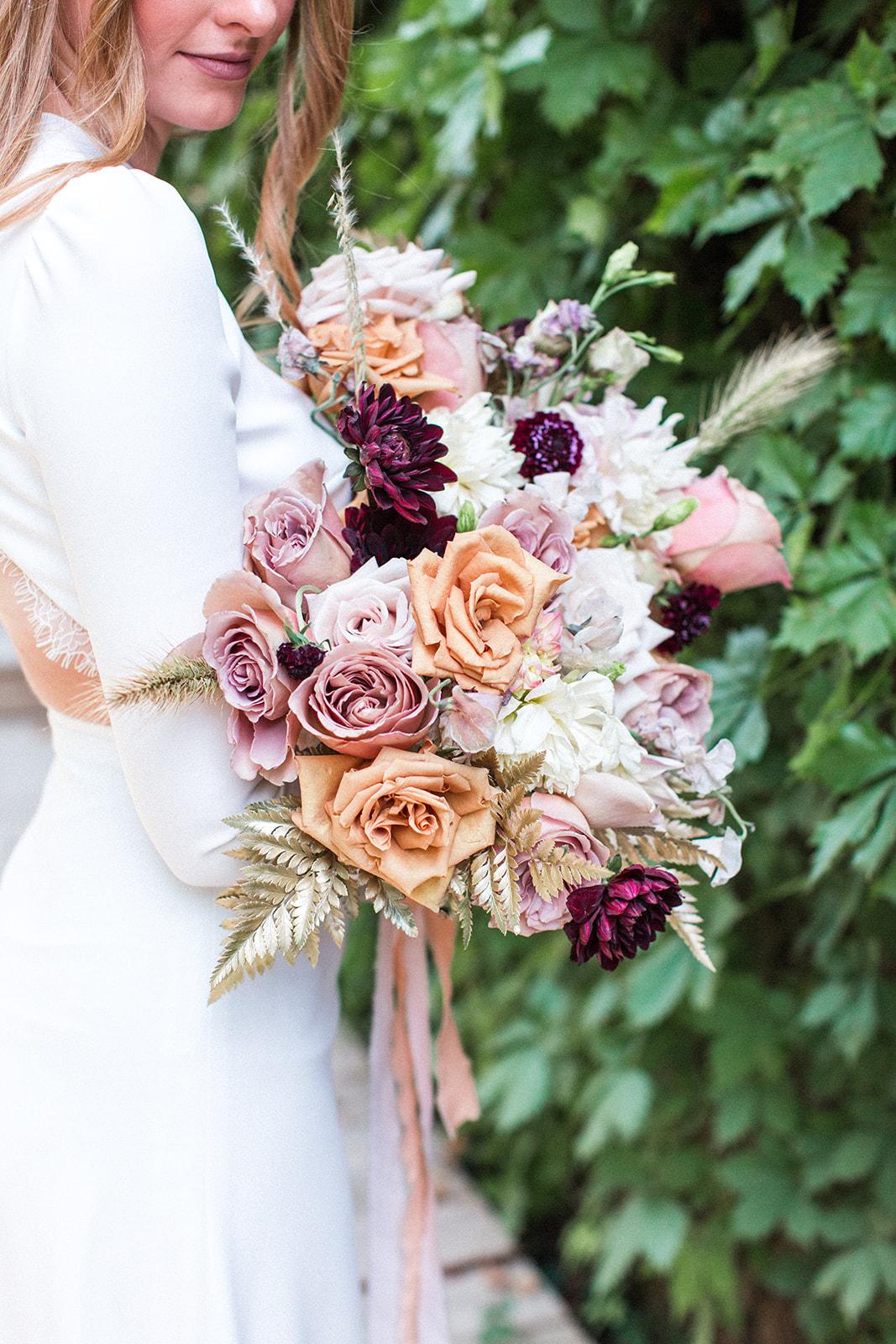 Fall wedding bouquet: Fall Garden Wedding featured on Alexa Kay Events