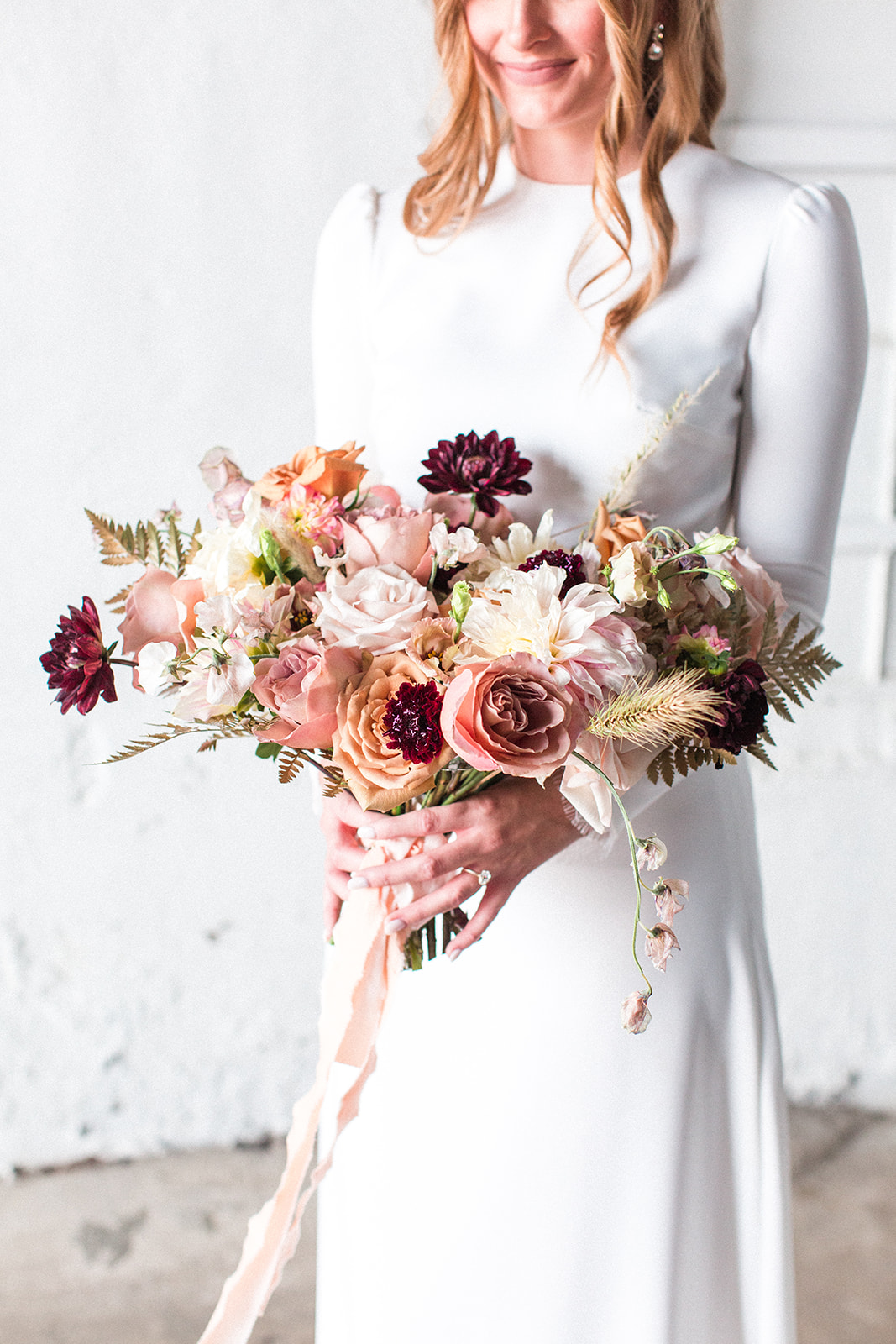 Mauve and burgundy wedding bouquet: Fall Garden Wedding featured on Alexa Kay Events