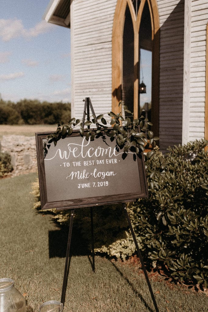 Wedding welcome sign: Intimate and Charming Wedding featured on Alexa Kay Events blog