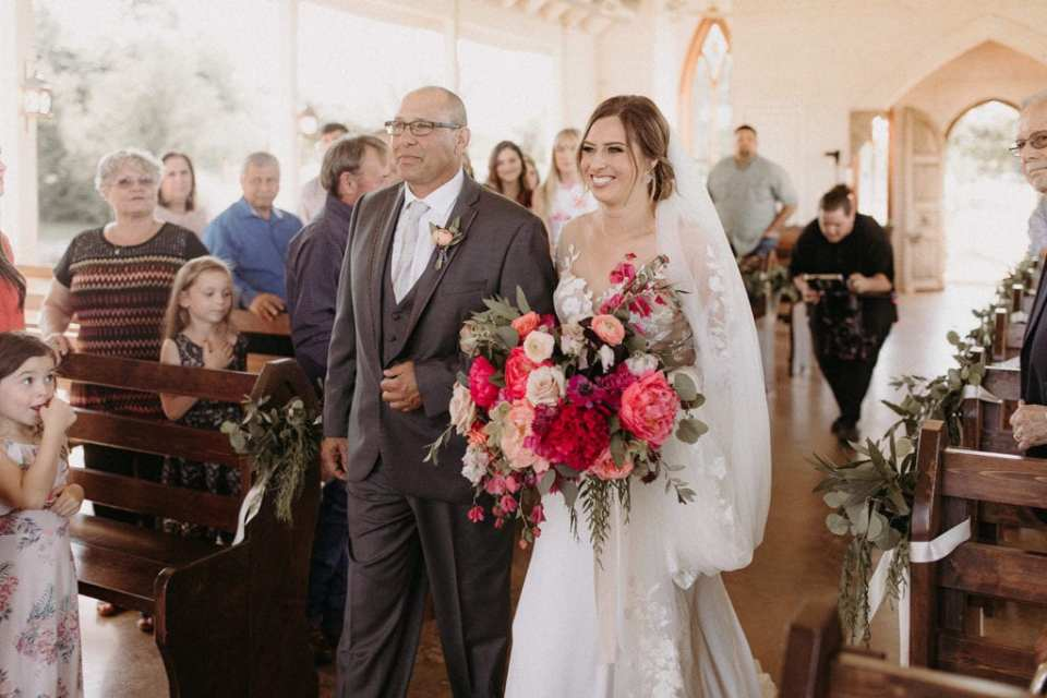 Bride walking down the aisle: Intimate and Charming Wedding featured on Alexa Kay Events blog