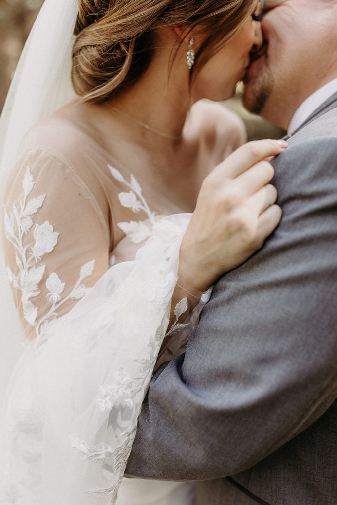 Lace wedding dress details: Intimate and Charming Wedding featured on Alexa Kay Events blog