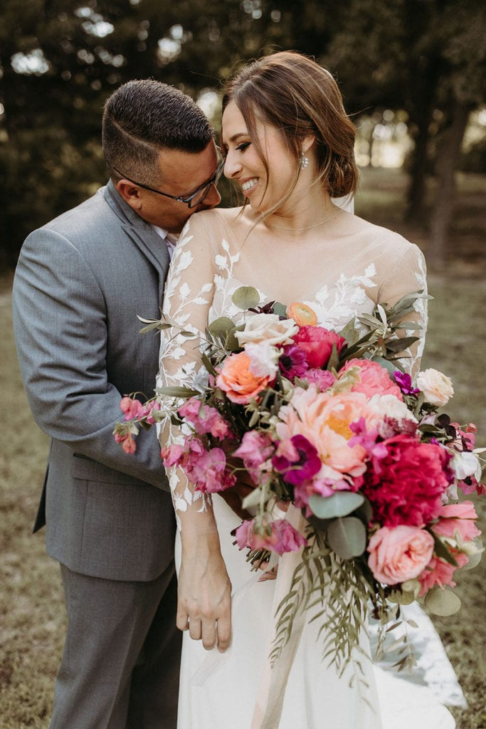 Pink and red wedding bouquet: Intimate and Charming Wedding featured on Alexa Kay Events blog