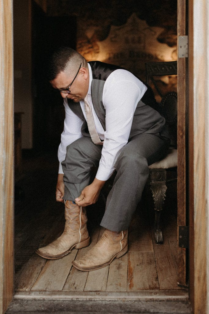 Cowboy boot grooms attire: Intimate and Charming Wedding featured on Alexa Kay Events blog