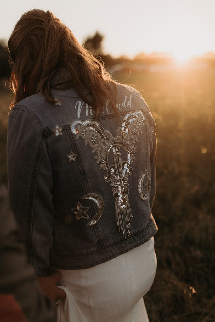 Bridal jean jacket: Intimate and Charming Wedding featured on Alexa Kay Events blog