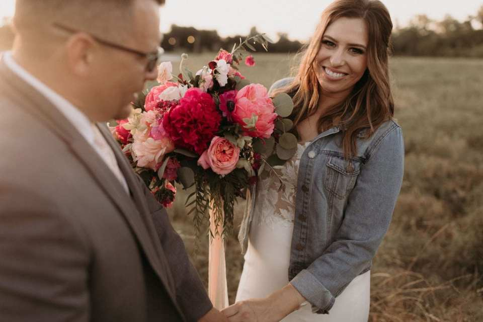 Golden hour wedding photos: Intimate and Charming Wedding featured on Alexa Kay Events blog
