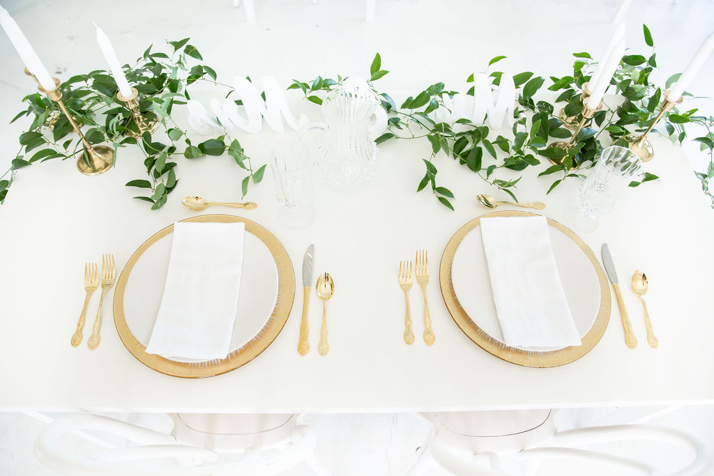 Gold and greenery wedding table decor: Modern Minimalistic Wedding at The Emerson