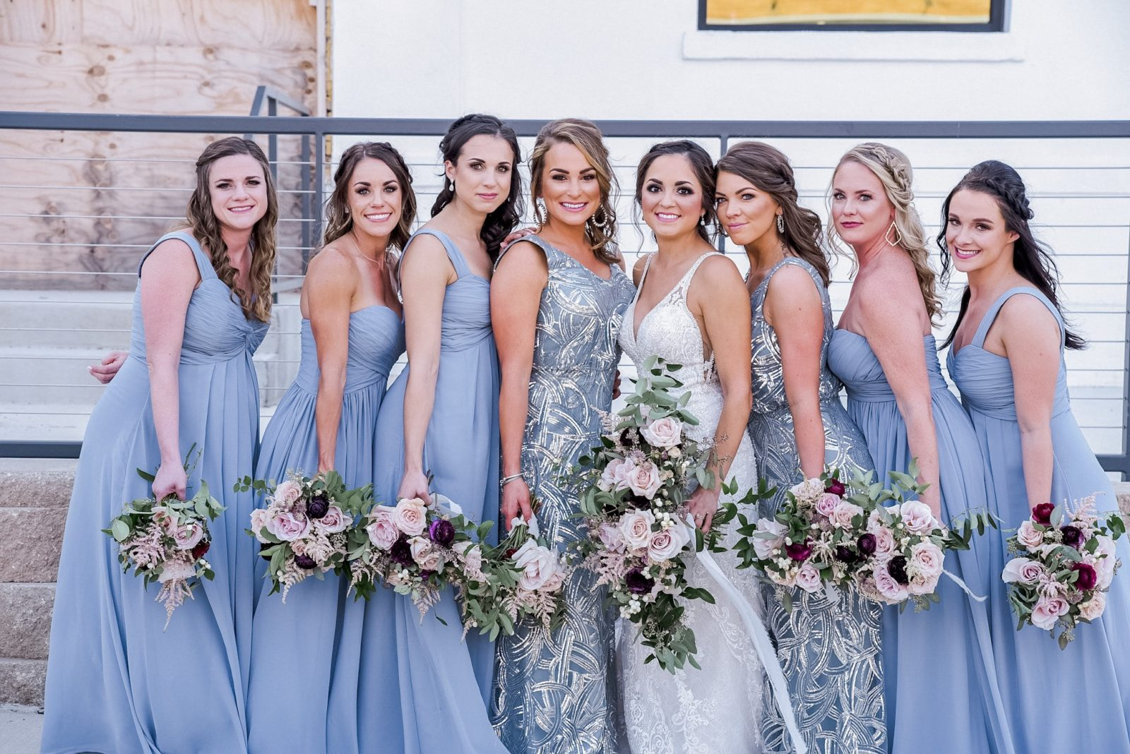 Mismatched Dusty Blue Bridesmaid Dresses