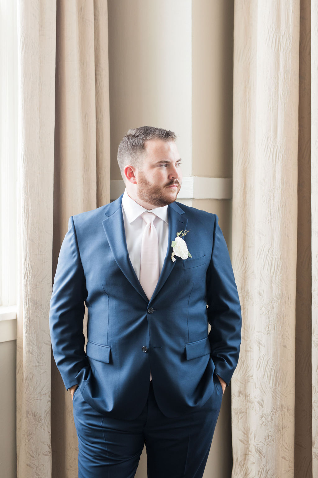 Dallas Fort Worth Groom: Dusty Blue and Blush Wedding at The Room on Main featured on Alexa Kay Events!