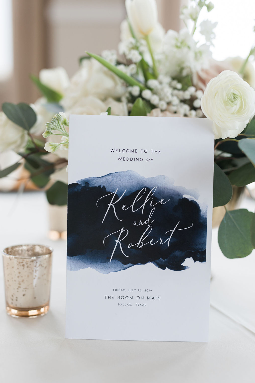 Blue wedding stationery: Dusty Blue and Blush Wedding at The Room on Main featured on Alexa Kay Events!