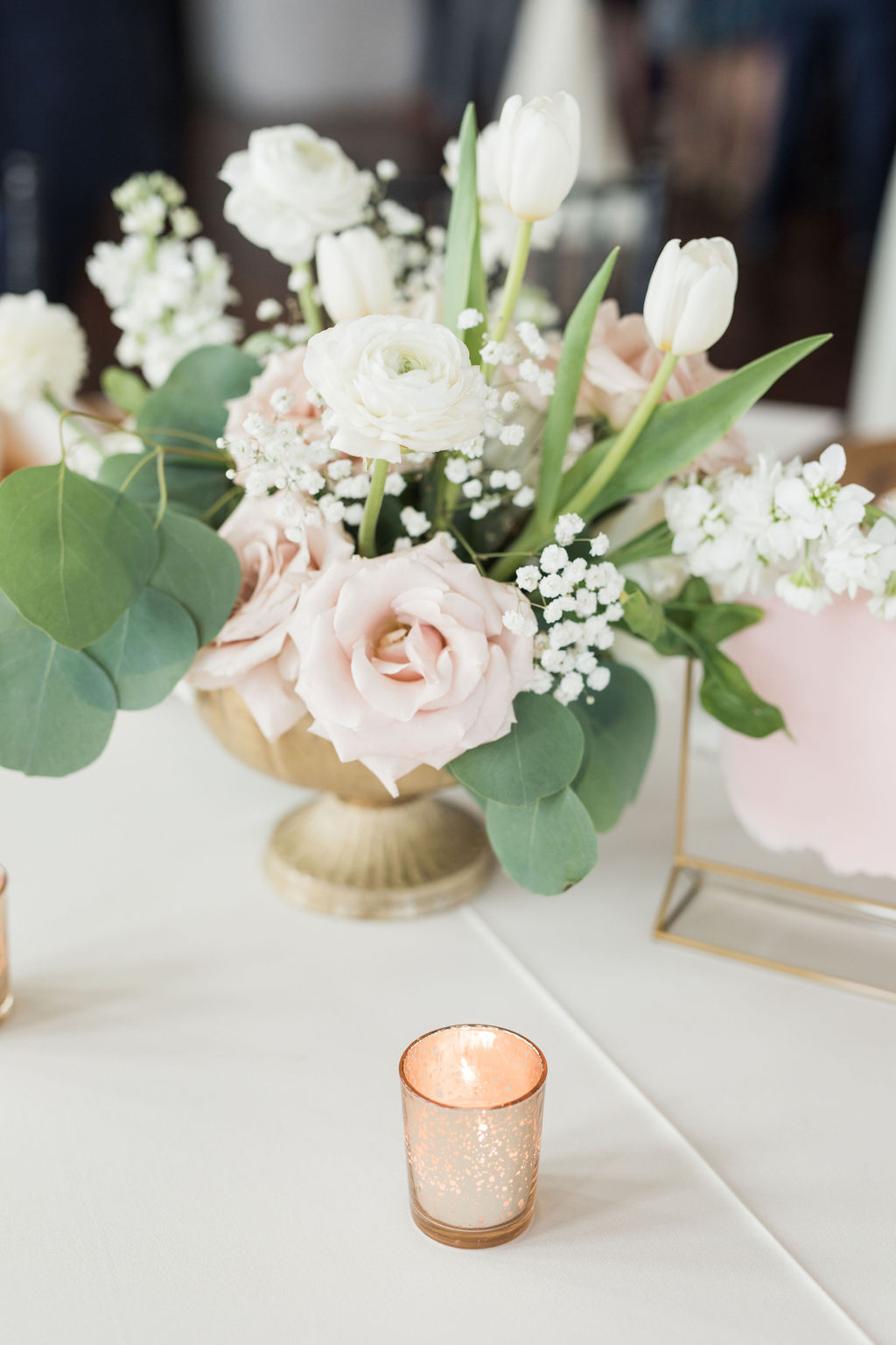 Gold mercury votives: Dusty Blue and Blush Wedding at The Room on Main featured on Alexa Kay Events!