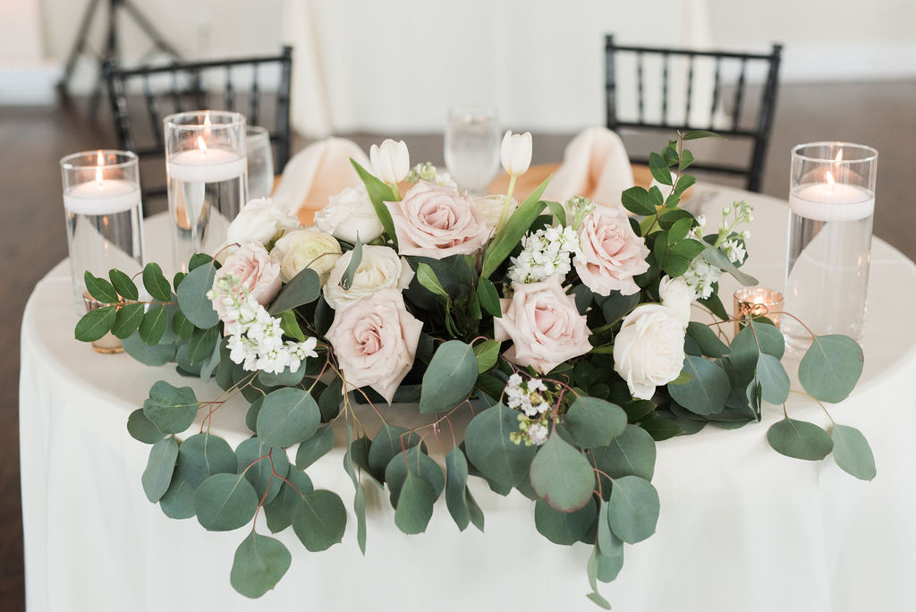 Blush pink and greenery wedding flowers; Dusty Blue and Blush Wedding at The Room on Main featured on Alexa Kay Events!