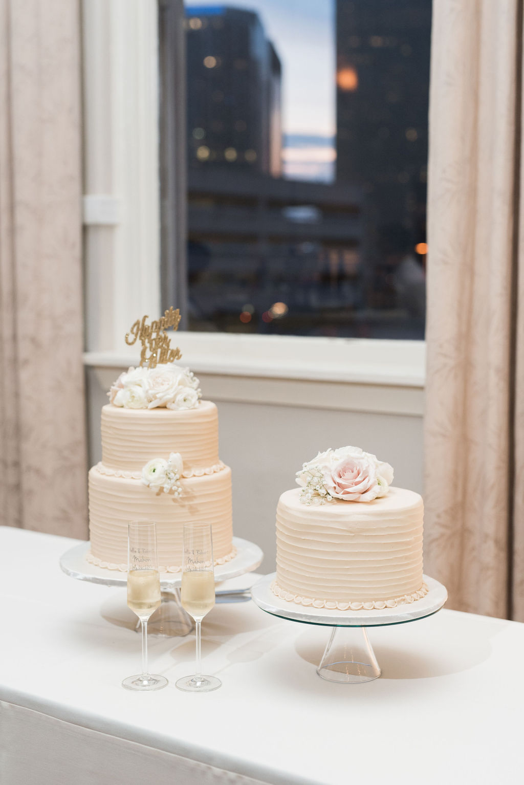 Simple wedding cake table: Dusty Blue and Blush Wedding at The Room on Main featured on Alexa Kay Events!