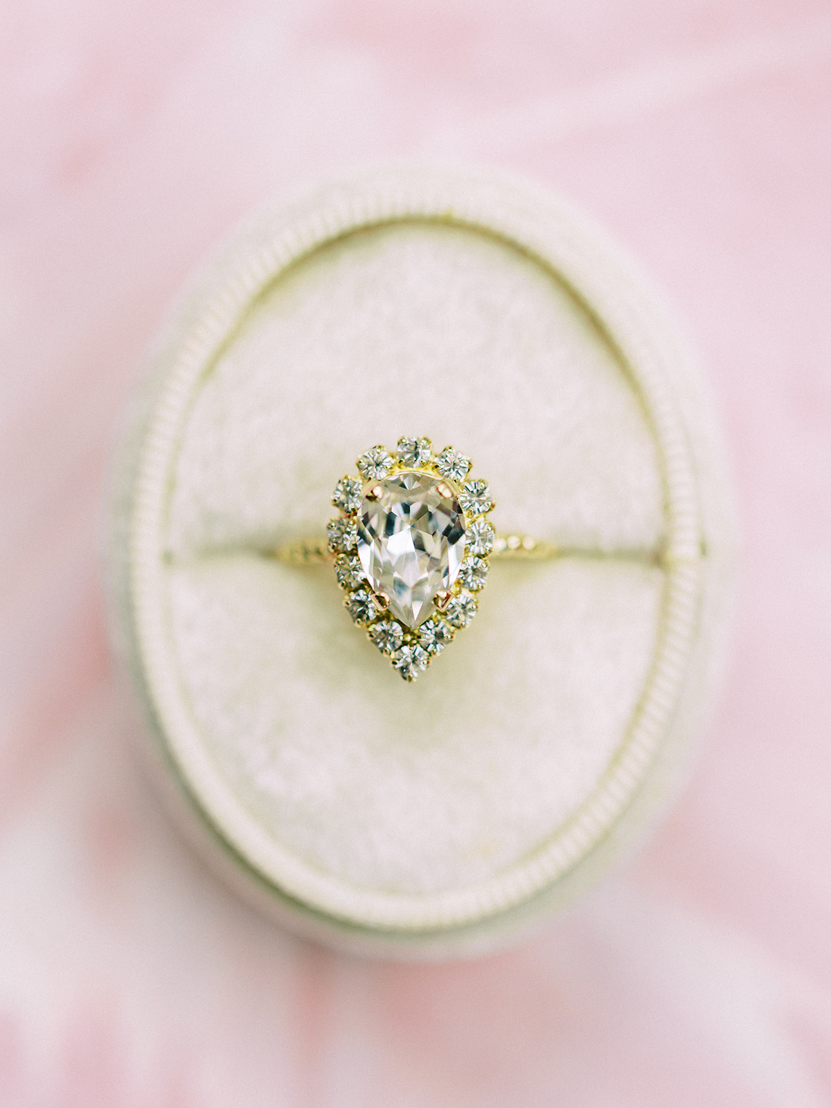 Pear shaped engagement ring: Whimsical garden elegance styled shoot featured on Alexa Kay Events
