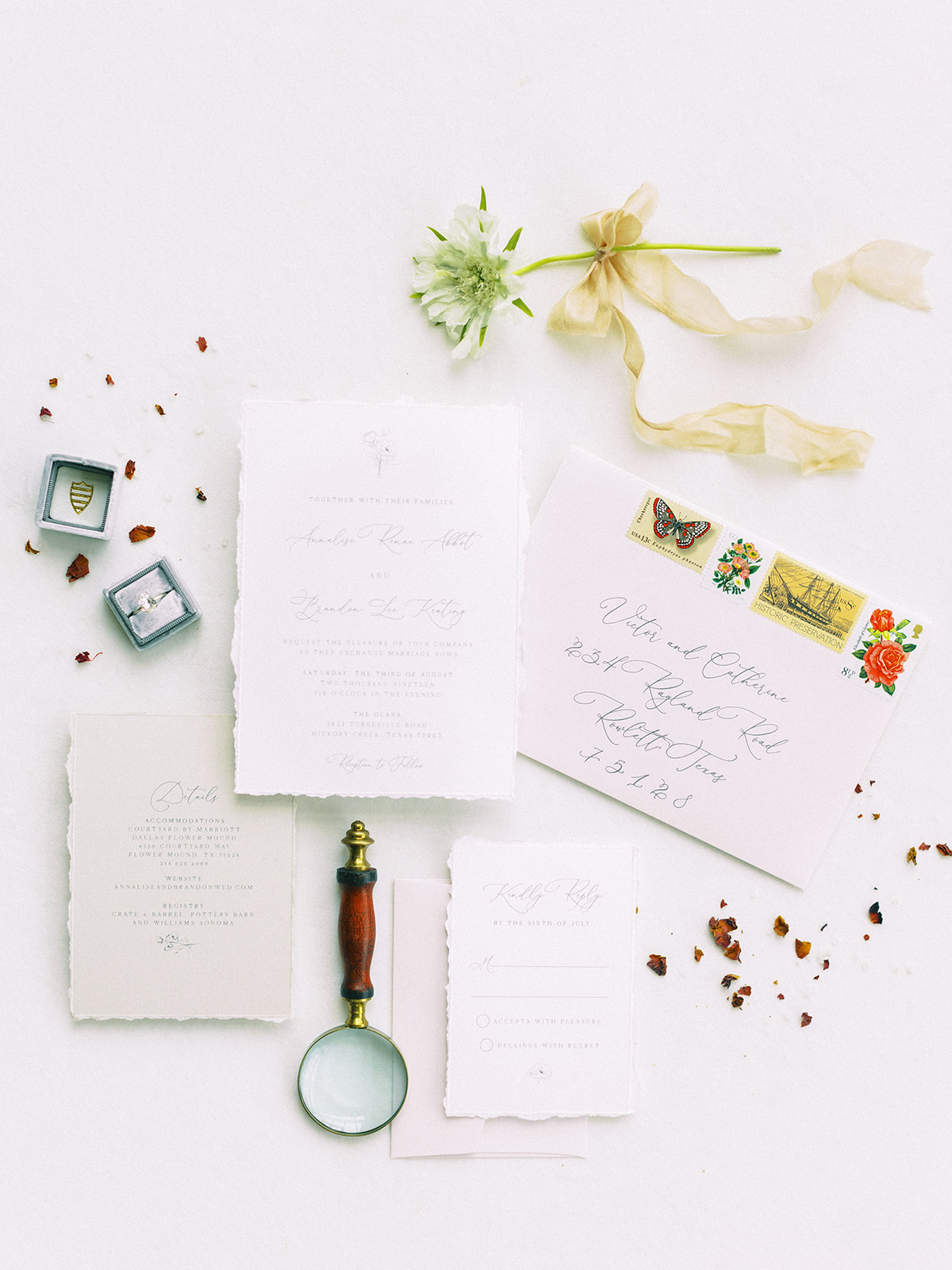 Wedding invitation suite: Whimsical garden elegance styled shoot featured on Alexa Kay Events