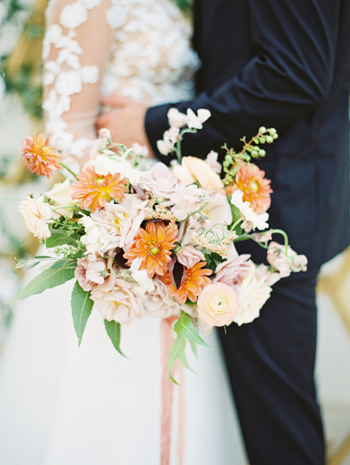 Orange wedding bouquet: Whimsical garden elegance styled shoot featured on Alexa Kay Events