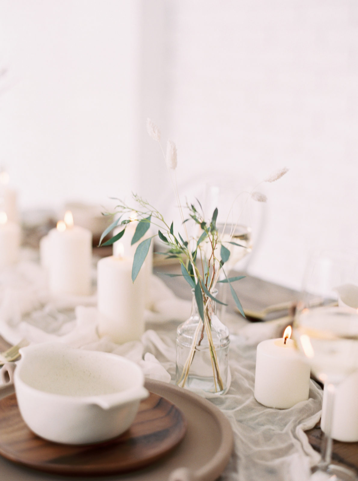 Simplistic wedding centerpieces for light and airy styled shoot on Alexa Kay Events