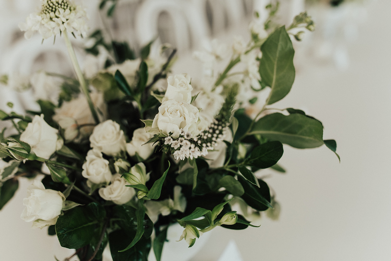 Greenery and White Wedding Centerpieces from TR Florals