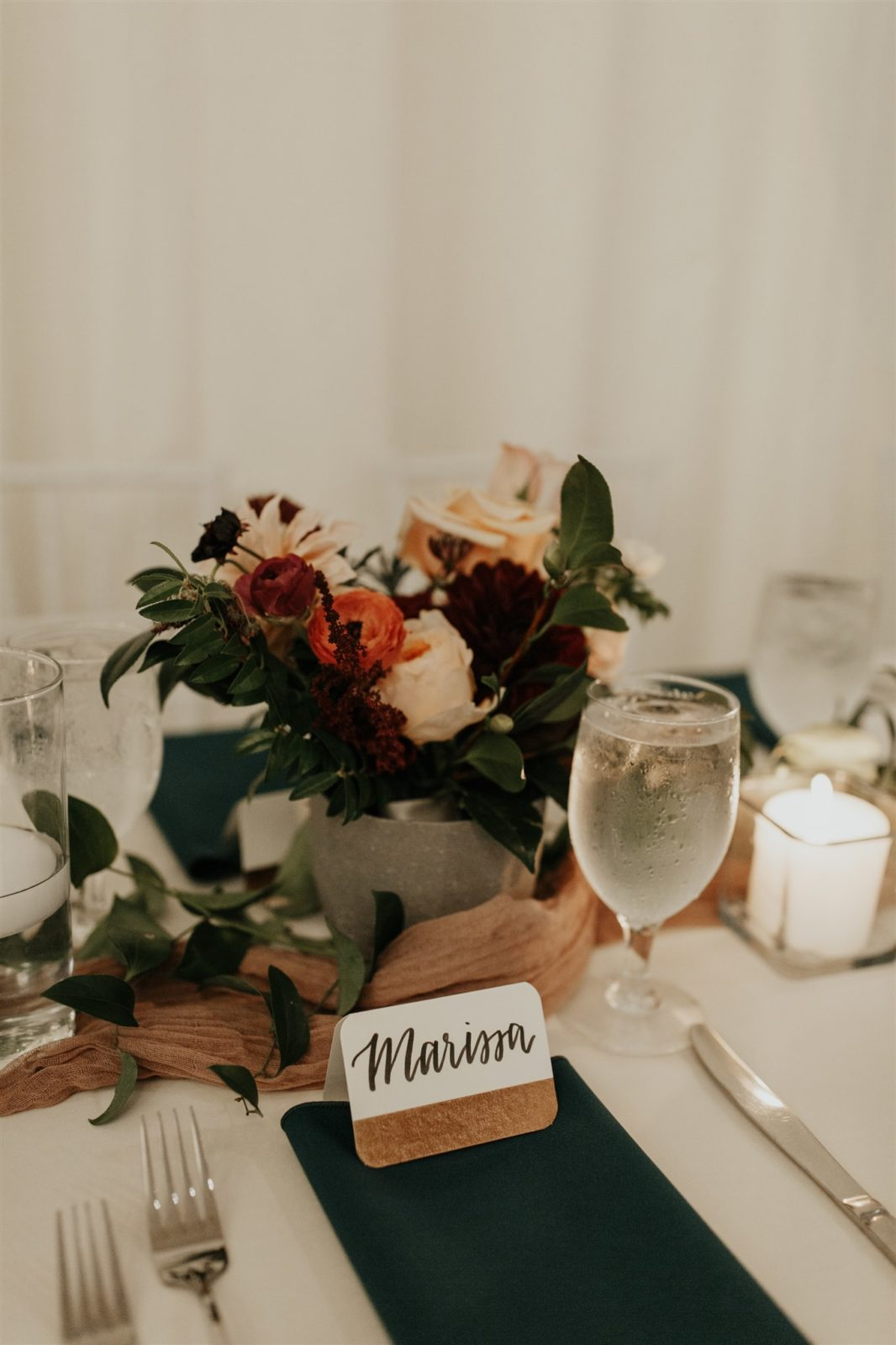 Rich Colored Wedding Centerpiece at The Hall on Dragon Wedding on Alexa Kay Events