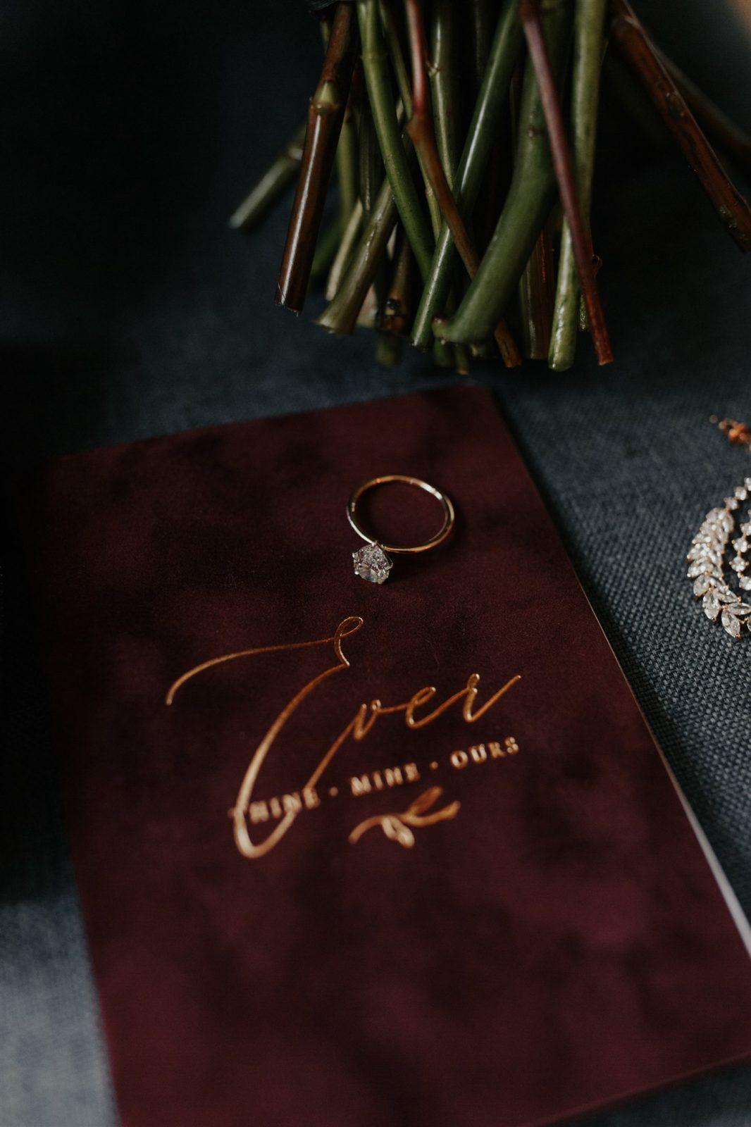 Burgundy Wedding Vow Book for Hall on Dragon Wedding