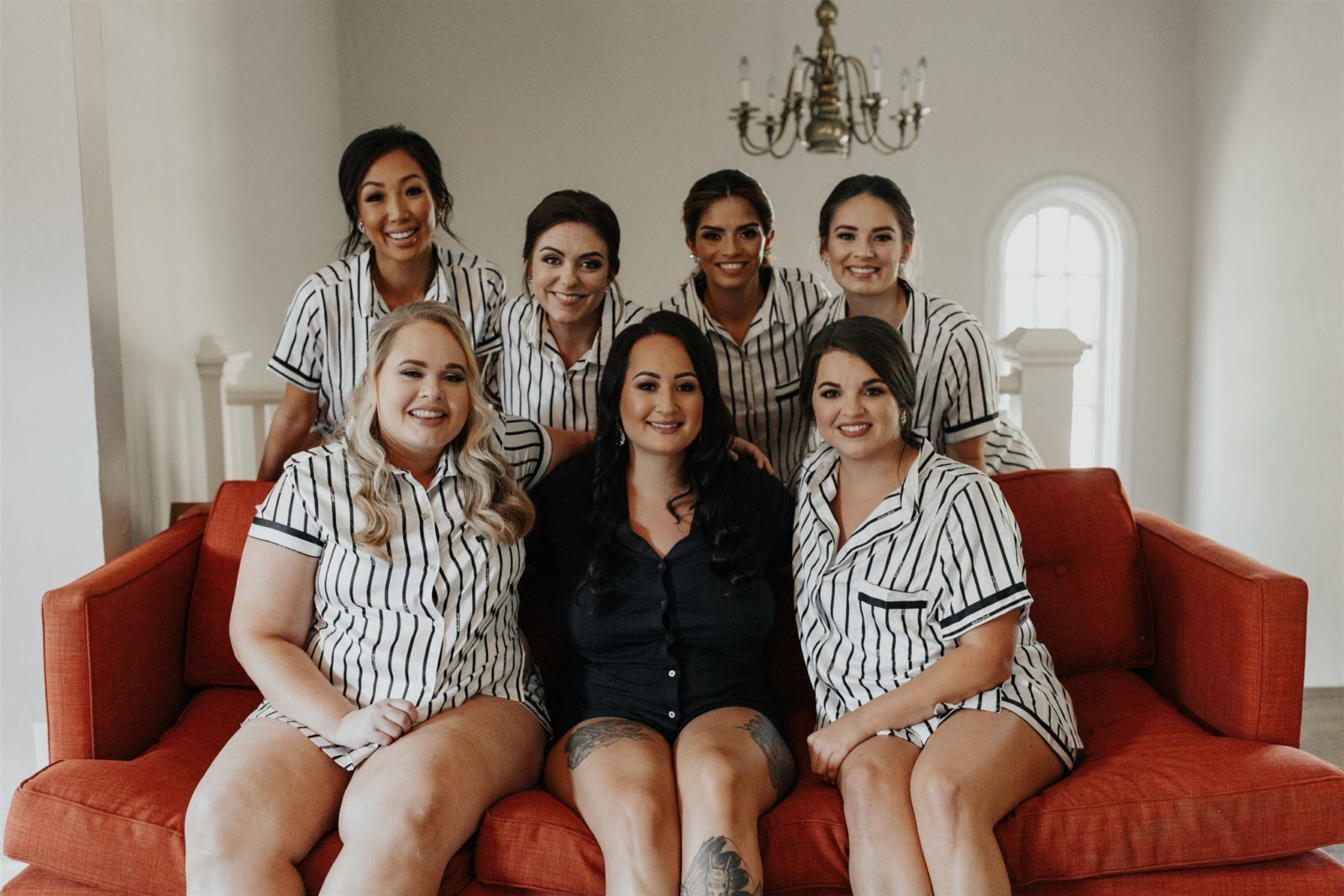 Black and White Bridesmaids Pajamas for Moody Wedding featured on Alexa Kay Events