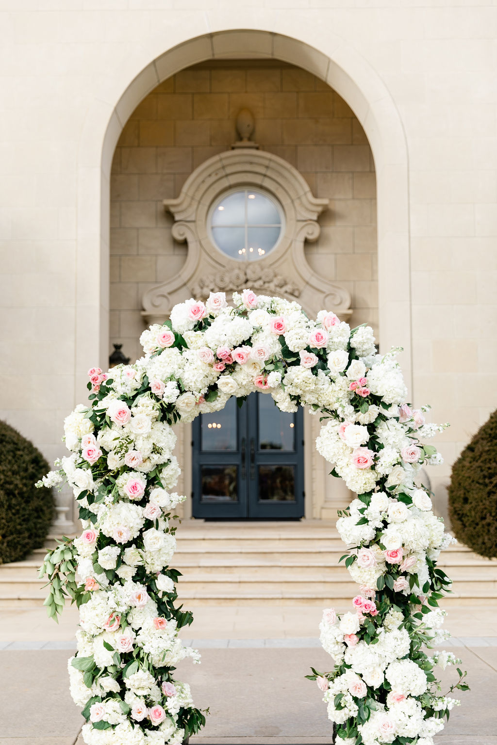 Pink and white wedding floral arch: Dreamy Pink and Gray Wedding at The Olana