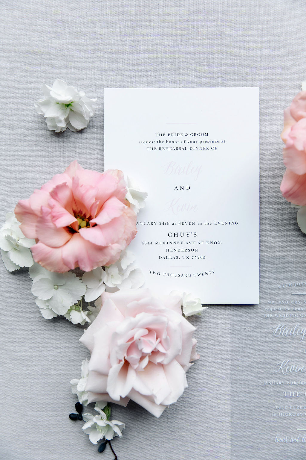 Black and white wedding invitation: Dreamy Pink and Gray Wedding at The Olana