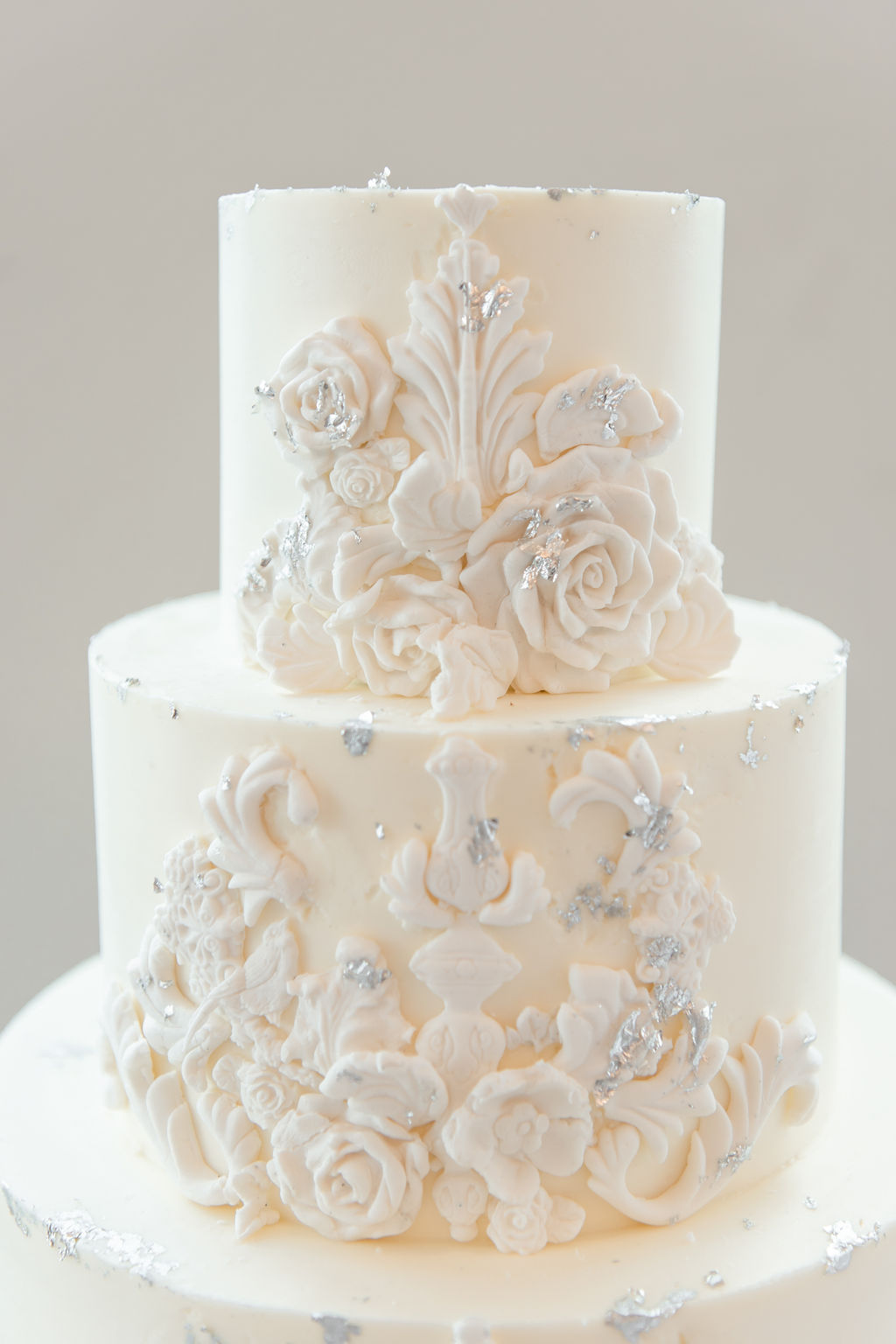 White floral wedding cake design: Dreamy Pink and Gray Wedding at The Olana