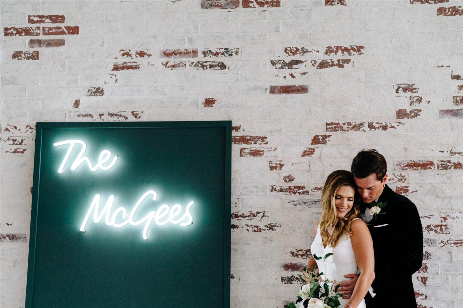 Neon Wedding Sign: Simply Modern Firefly Gardens Wedding featured on Alexa Kay Events