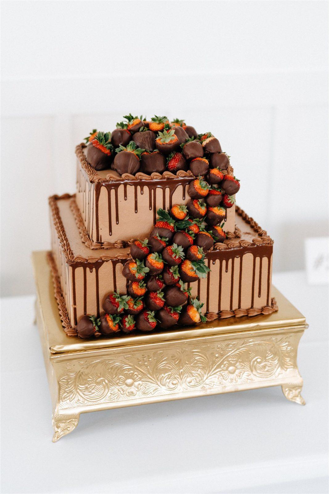 Chocolate Strawberry Wedding Cake: Simply Modern Firefly Gardens Wedding featured on Alexa Kay Events
