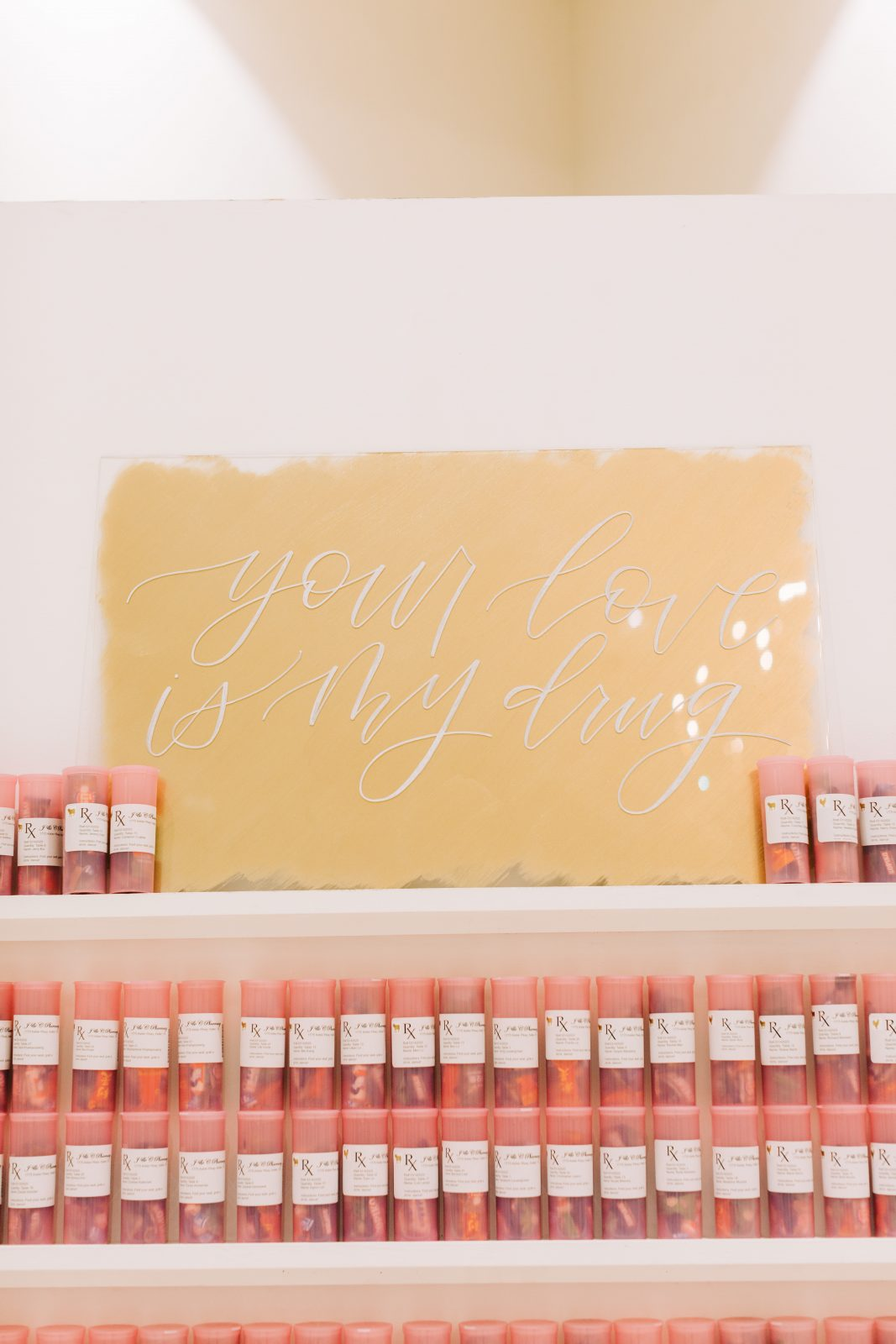 Gold hand-lettered wedding sign: Blush Pink Texas Wedding at The Bowden featured on Alexa Kay Events