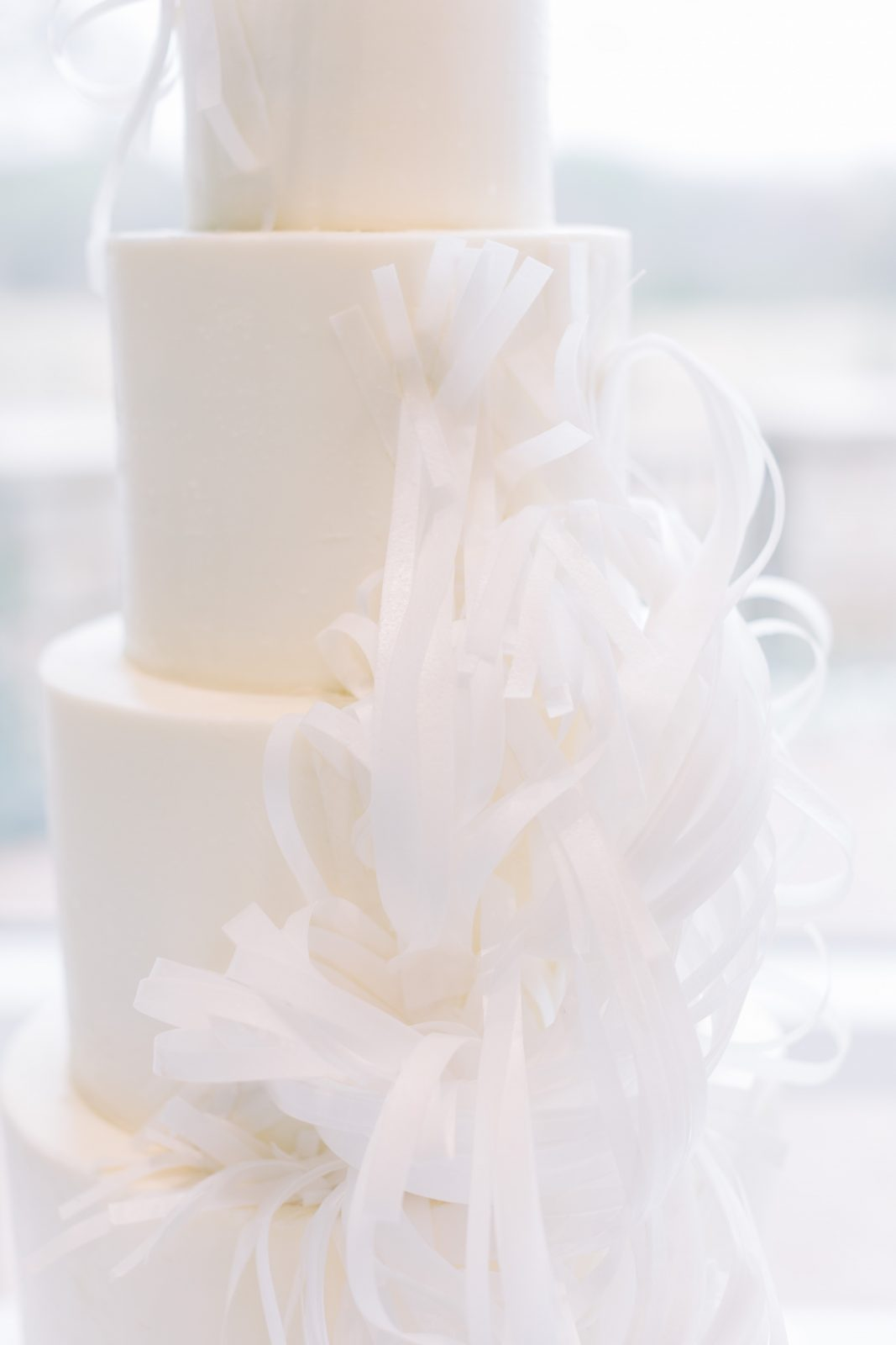 All white textured wedding cake: Blush Pink Texas Wedding at The Bowden featured on Alexa Kay Events