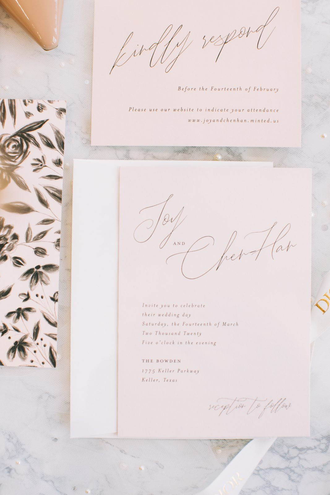 Pink and grey wedding stationery: Blush Pink Texas Wedding at The Bowden featured on Alexa Kay Events