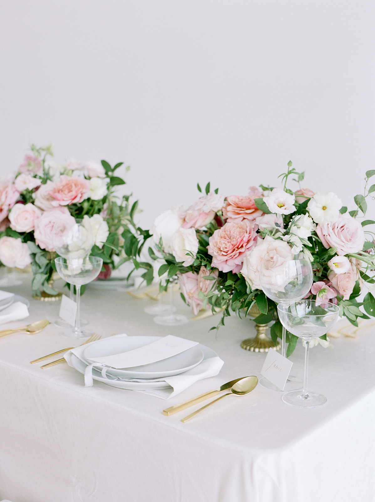 Pink floral wedding table top decor: Pink Floral Wedding Inspiration at The Lumen Room featured on Alexa Kay Events