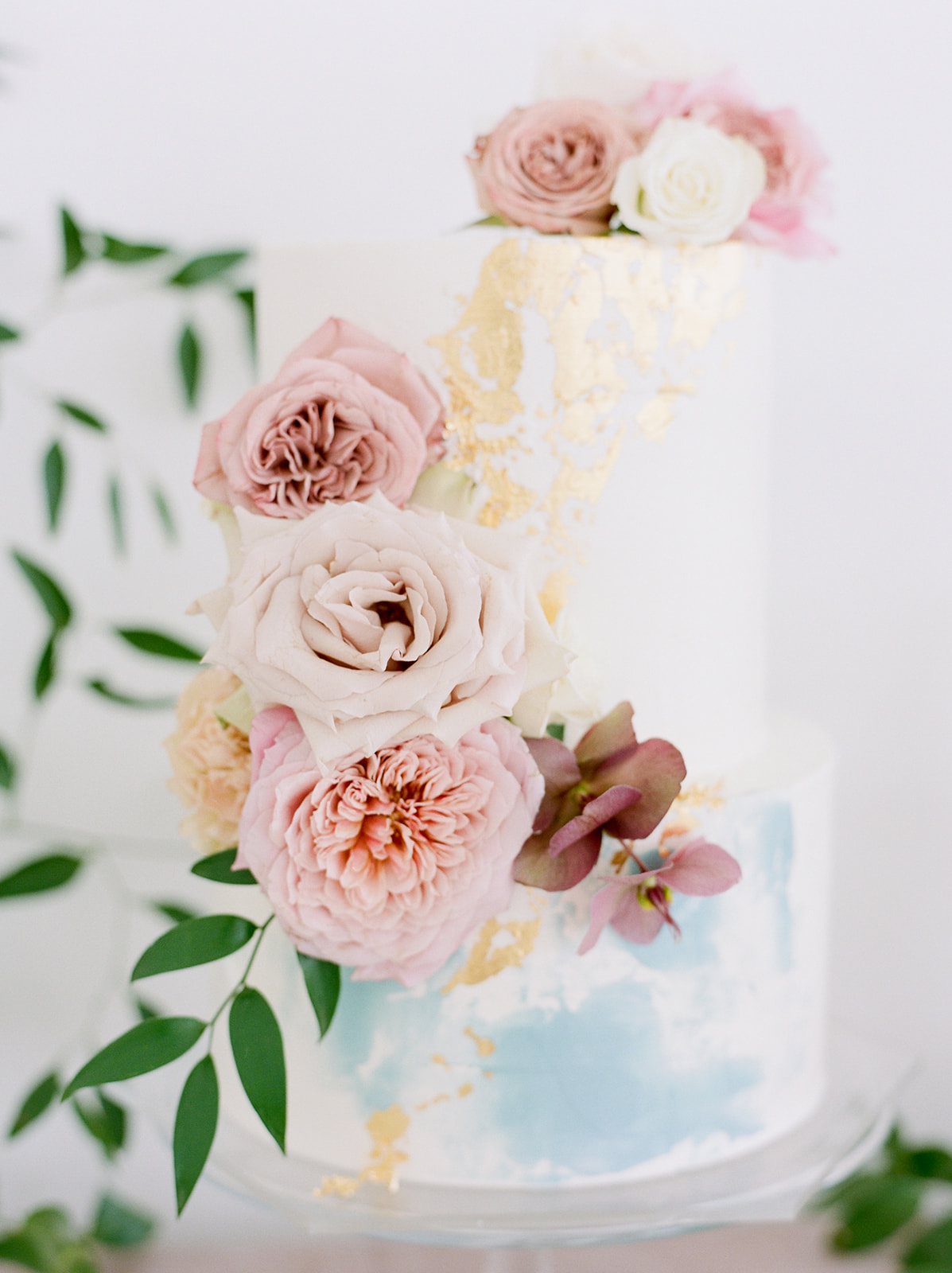 Modern pink pastel wedding cake: Pink Floral Wedding Inspiration at The Lumen Room featured on Alexa Kay Events