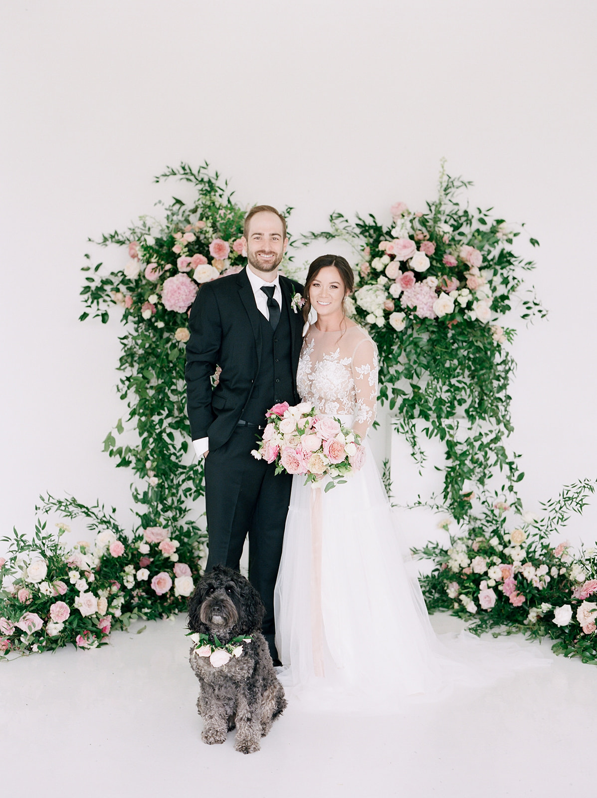 Pink and greenery wedding ceremony backdrop: Pink Floral Wedding Inspiration at The Lumen Room featured on Alexa Kay Events
