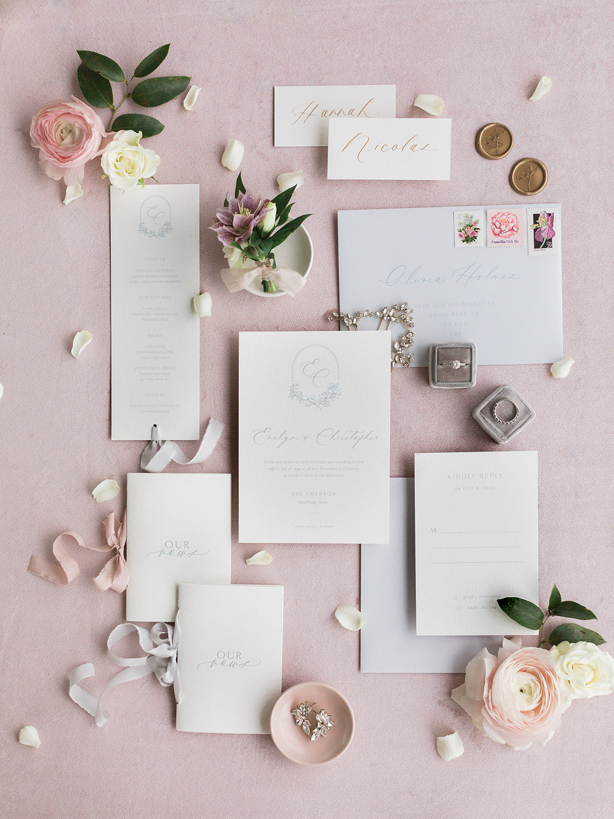 Pastel wedding stationery: Pink Floral Wedding Inspiration at The Lumen Room featured on Alexa Kay Events