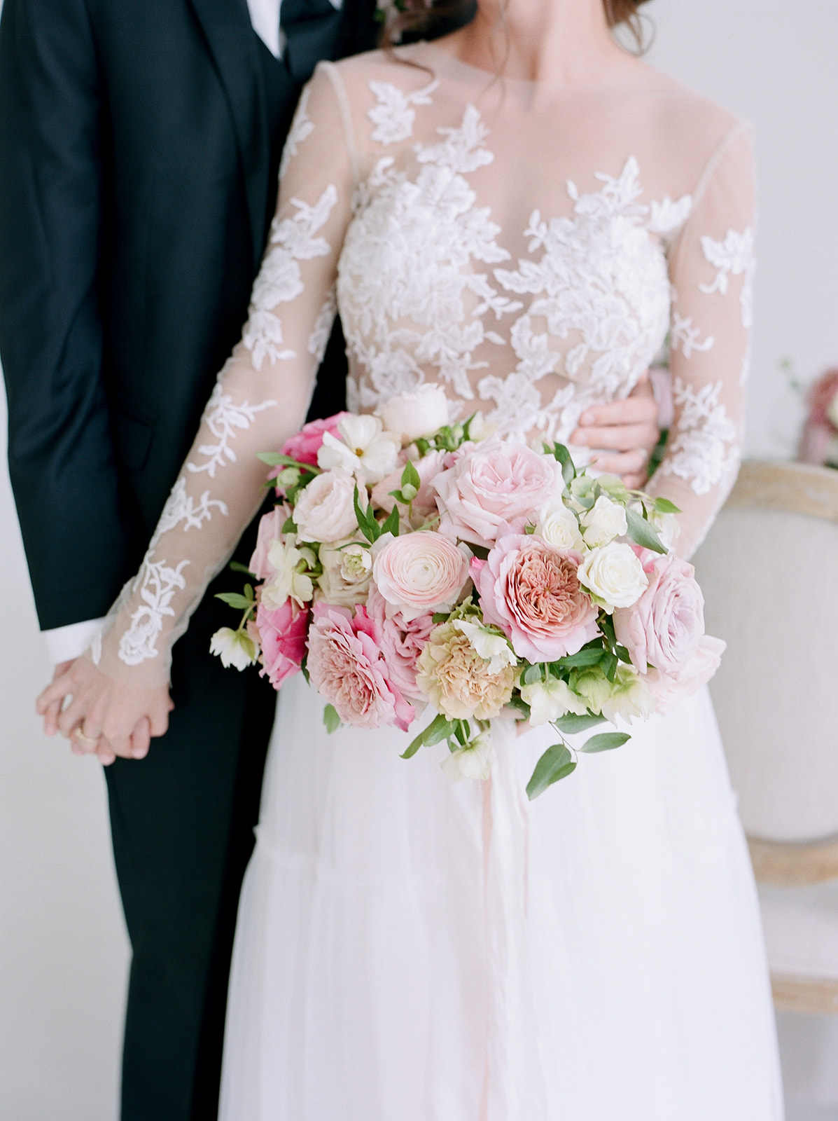 Petals and pastels wedding bouquet: Pink Floral Wedding Inspiration at The Lumen Room featured on Alexa Kay Events