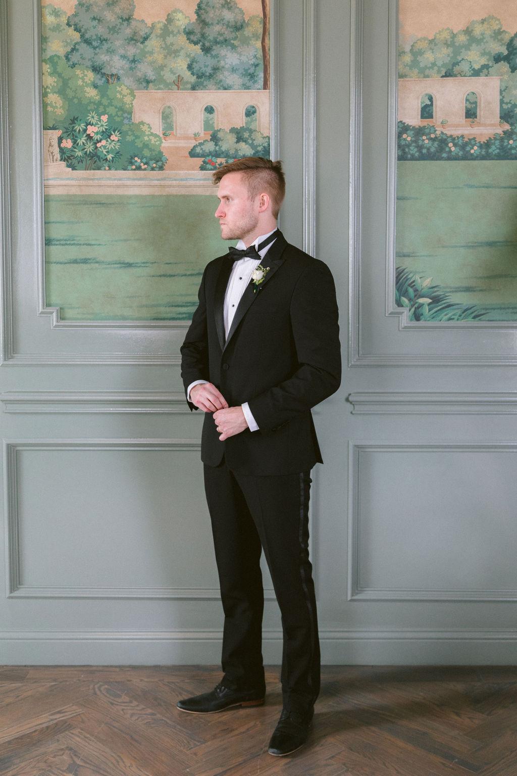 Classic black tuxedo: Elegant Dallas Wedding Inspiration at The Mason featured on Alexa Kay Events
