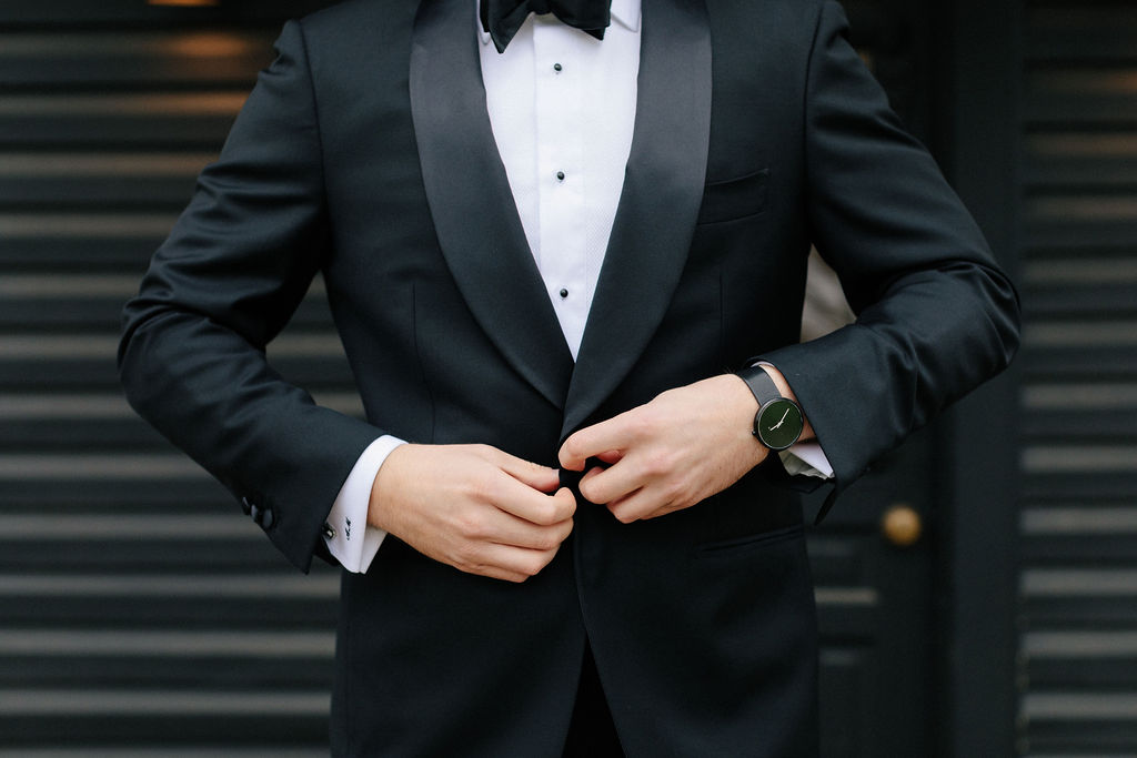 Suit Supply Mens Tuxedo: White and Greenery Wedding at The Emerson by Alexa Kay Events