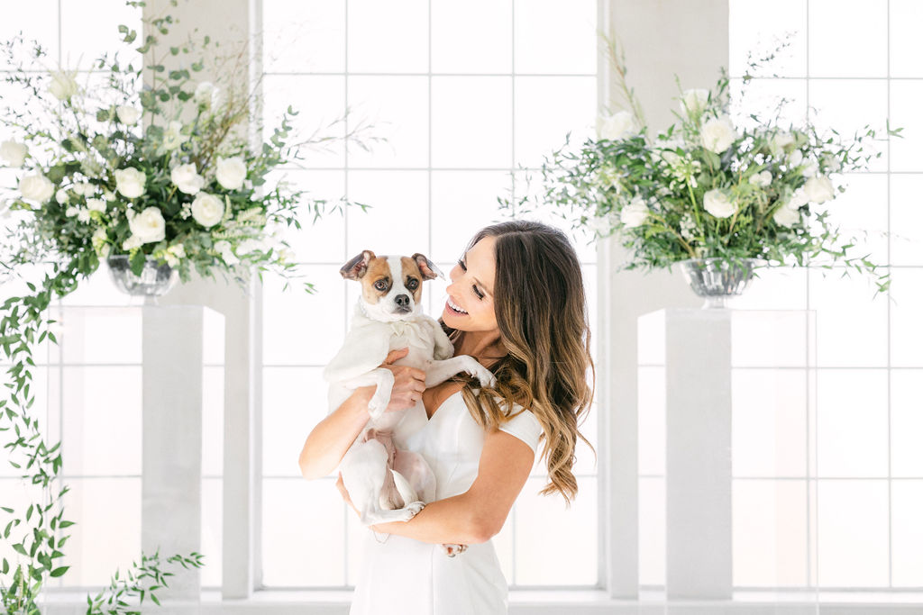 Bridal portrait with dog: White and Greenery Wedding at The Emerson by Alexa Kay Events