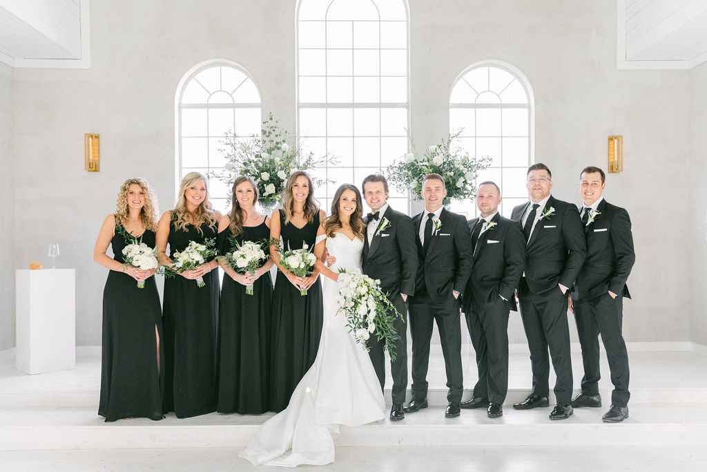 Black and white wedding attire: White and Greenery Wedding at The Emerson by Alexa Kay Events