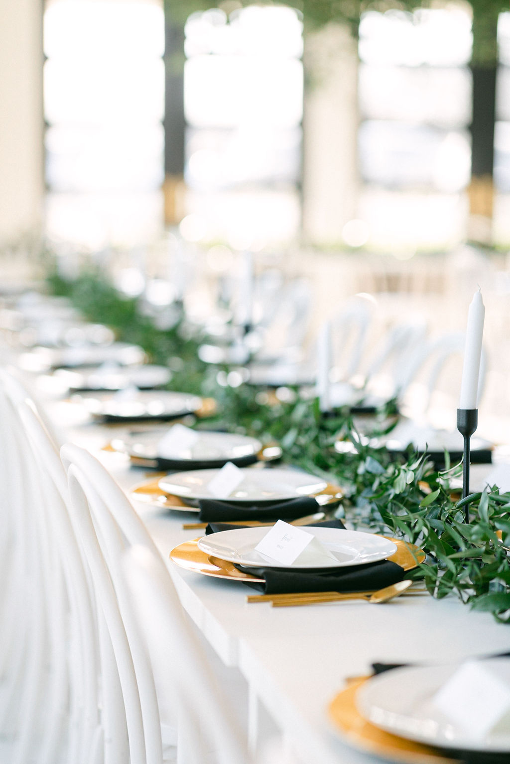 Timeless wedding table decor: White and Greenery Wedding at The Emerson by Alexa Kay Events