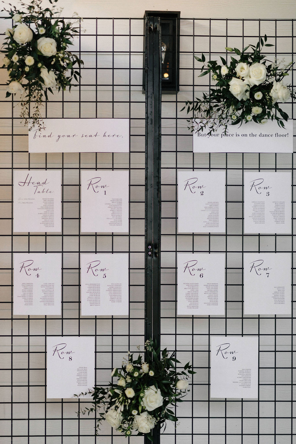 Wedding escort card display: White and Greenery Wedding at The Emerson by Alexa Kay Events