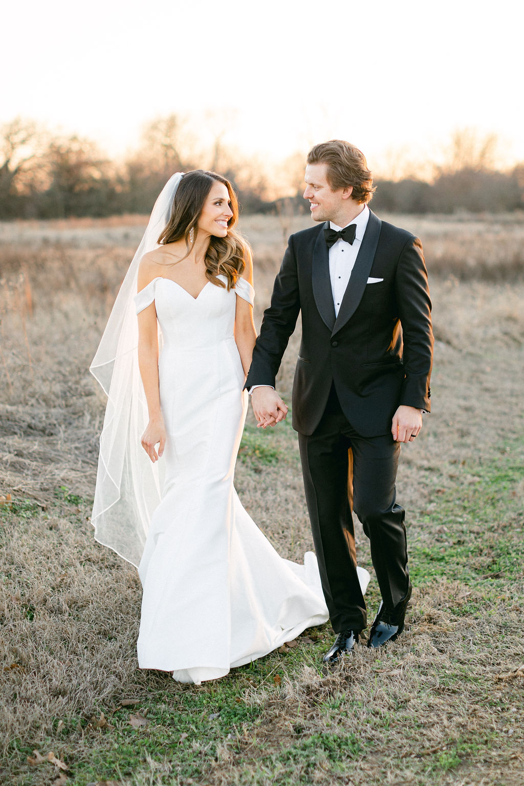 Off the shoulder wedding dress: White and Greenery Wedding at The Emerson by Alexa Kay Events