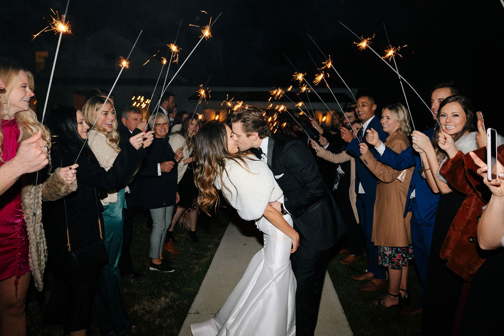 Sparkler wedding exit: White and Greenery Wedding at The Emerson by Alexa Kay Events