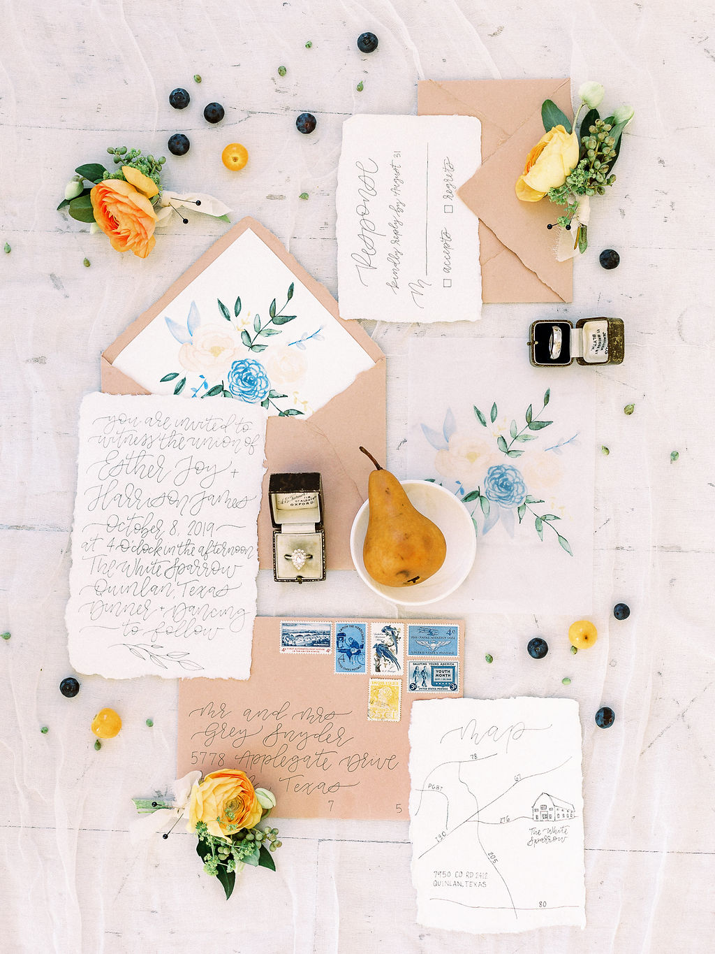 Peach and blue wedding stationery: Ethereal Wedding Inspiration at The White Sparrow