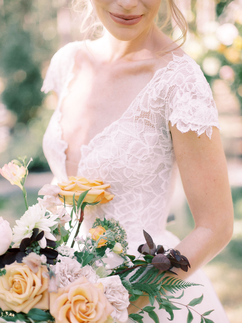 Lace wedding dress: Ethereal Wedding Inspiration at The White Sparrow