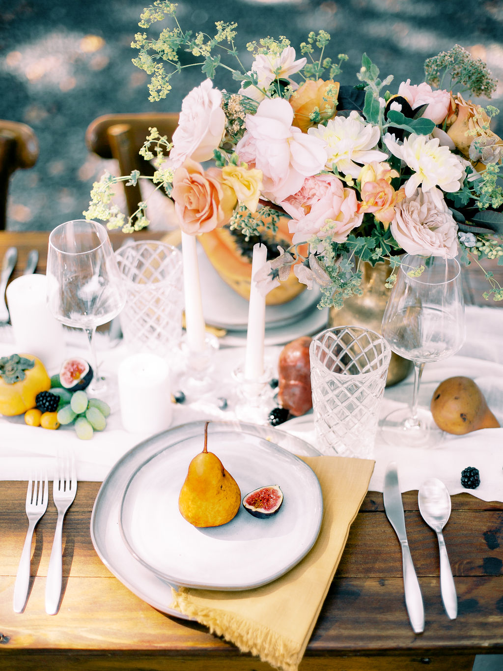 Fruit wedding place setting: Ethereal Wedding Inspiration at The White Sparrow