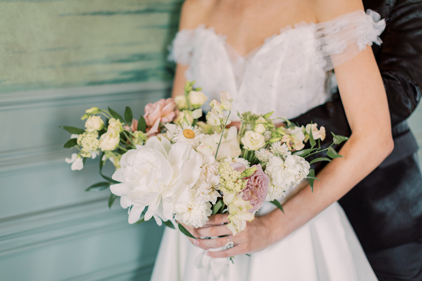 Pink and white wedding bouquet by Alba Dahlia Floral