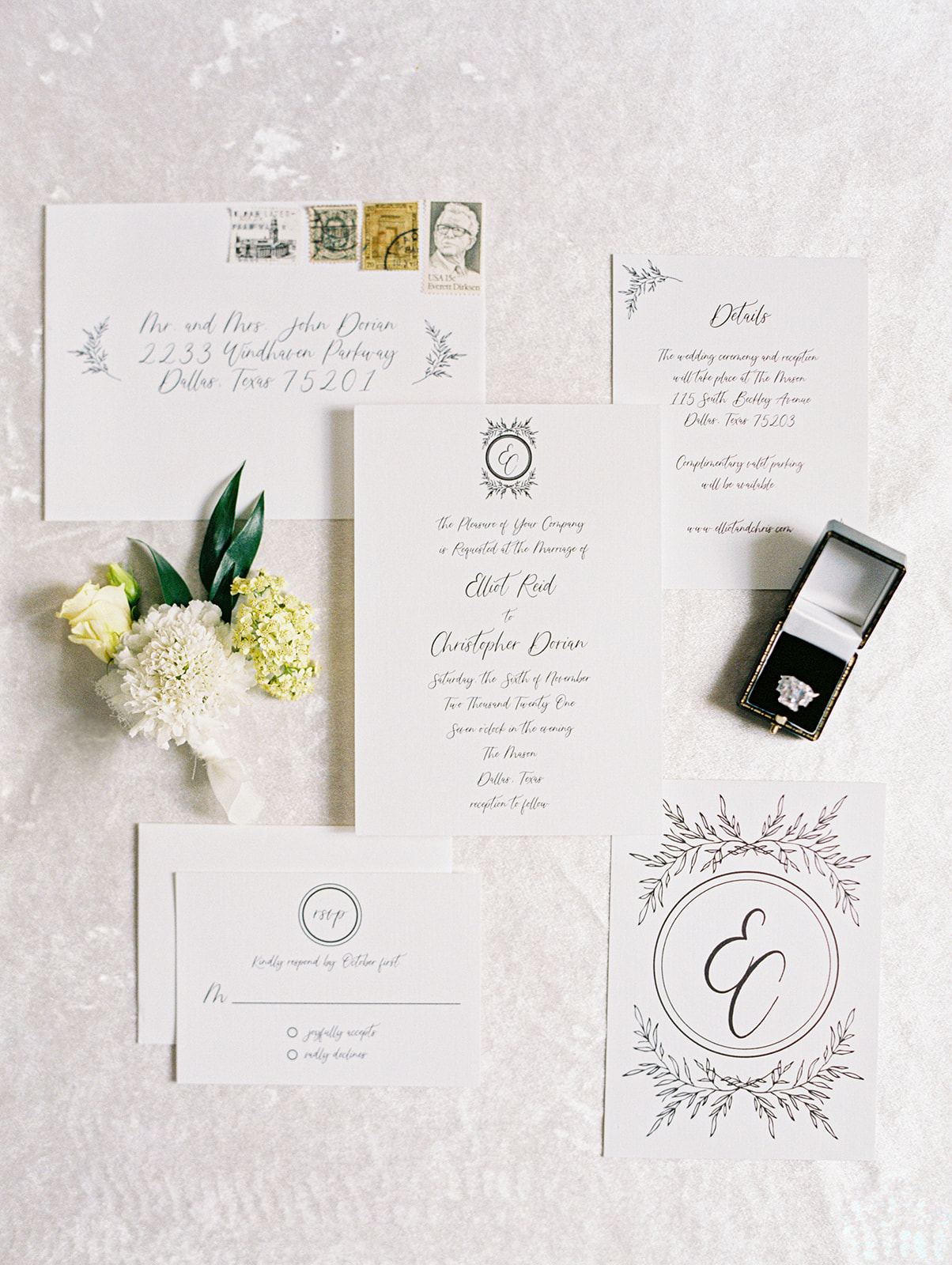 Lyons Paperie black and white wedding stationery